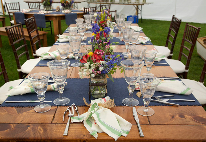 Wildflower table design - Maine wildflowers and casual linens are the epitome of casual elegance for this Maine seaside wedding. www.churchillevents.com