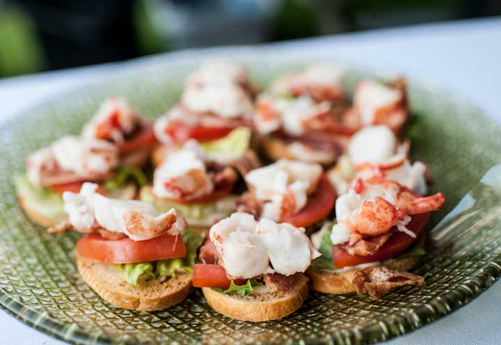 Lobster BLTs - Maine wedding... Maine lobster. Lobster BLT bites are passed as appetizers at a Churchill Events wedding. www.churchillevents.com