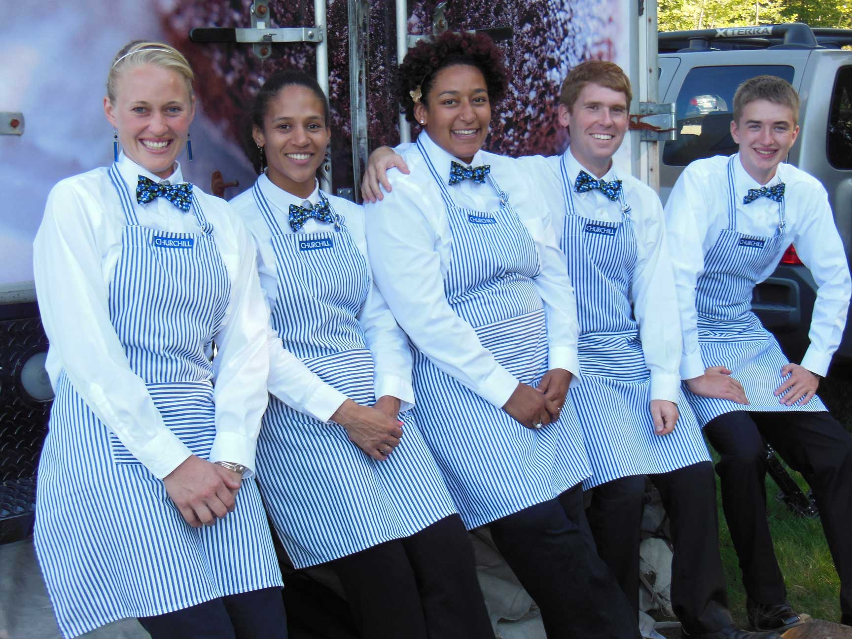 Our team of professional planners, chefs, bartenders, and servers, at beachfront wedding in Cape Elizabeth, Maine.