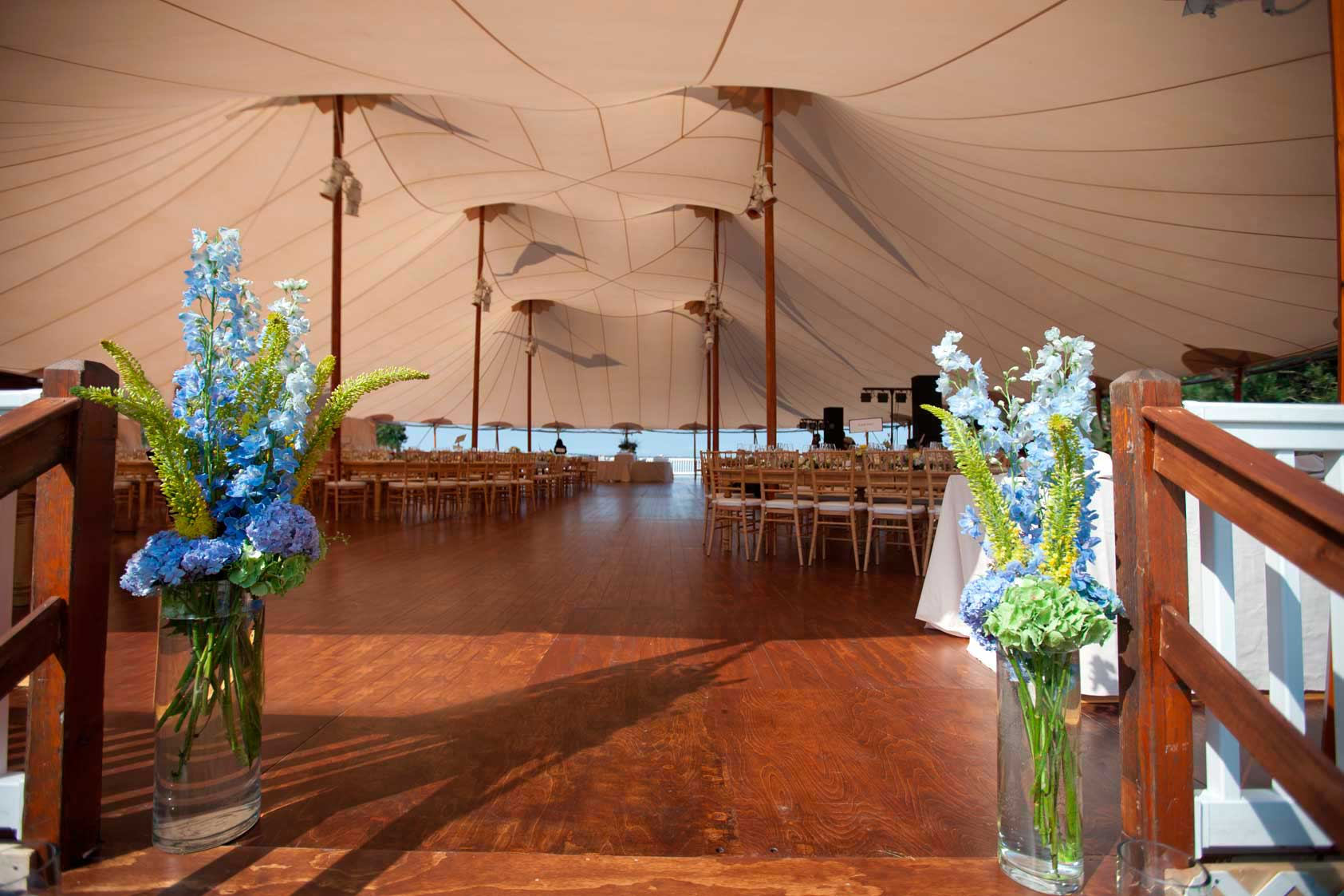 This striking tent is perched magnificently over the Atlantic Ocean on Prout's Neck, Maine.