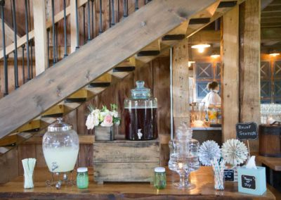 Refreshment table at a Maine Barn Wedding, Photo Courtesy of Kivalo Wedding Photography. http://kivalophotographyblog.com