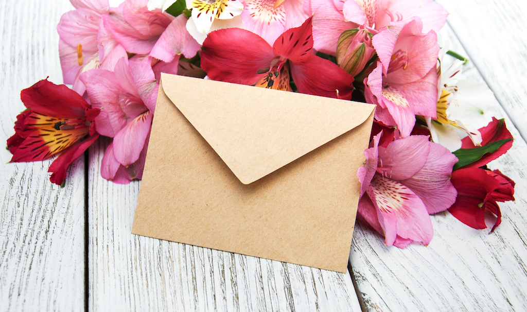 paper envelope with flowers